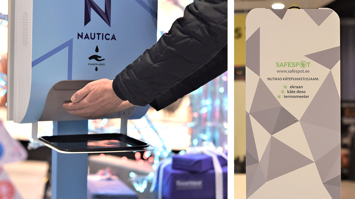 Safespot kätepuhastusjaam desojaam reklaamerkaaniga